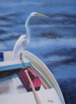 Egret Painting Originals - Stowaway by Maria Mills