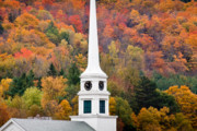 Boston Mountain Posters - Stowe Steeple Poster by Susan Cole Kelly