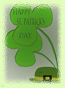 Patricks Day Card Framed Prints - St.patricks Wishs Framed Print by Debra     Vatalaro