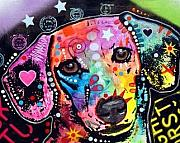 Dachshund  Art Mixed Media - Straight Dachshund Hearts Out of Balance by Dean Russo