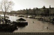 White River Scene Posters - Strandvagen Stockholm Sepia Captioned Poster by Mark Montana