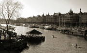 Boaters Photo Prints - Strandvagen Stockholm Sepia Print by Mark Montana