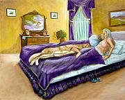 Bedrooms Paintings - Strange Bedfellows by Dorothy Riley
