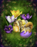 Squirrel Mixed Media Framed Prints - Strange Bunnies Framed Print by Carol Cavalaris