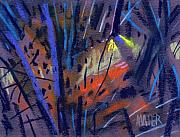 Abstract.trees Drawings Prints - strange Lights Print by Donald Maier
