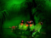 Lovebird Posters - Strange Love Poster by Carol Cavalaris