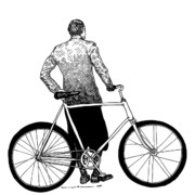 Gear Drawings Metal Prints - Stranger with Bike Metal Print by Karl Addison