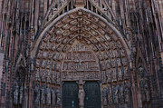 Catherdral Prints - Strasbourg Cathedral Entranceway Print by Bob Christopher