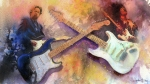 Eric Clapton Painting Prints - Strat Brothers Print by Andrew King