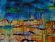 Abstracted Mixed Media Prints - Strata I Print by Shelli Finch