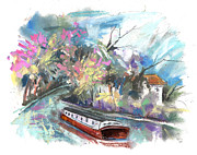 Barges Drawings Posters - Stratford upon Avon 02 Poster by Miki De Goodaboom