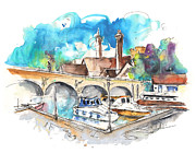 Barges Drawings Posters - Stratford upon Avon 04 Poster by Miki De Goodaboom