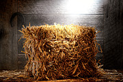Wooden Barn Posters - Straw Bale in Old Barn Poster by Olivier Le Queinec