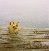 Basket Prints - Straw Basket And Sandals On Wooden Lake Dock Print by Brooke Schmidt