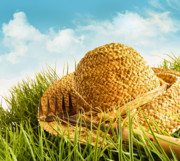 Outdoor Still Life Prints - Straw hat on grass with blue sky  Print by Sandra Cunningham