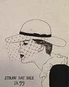 Old Ladies Drawings - Straw Hat by Sarah Parks