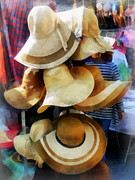 Clothing Metal Prints - Straw Hats Metal Print by Susan Savad