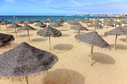 Suntan Photos - Straw Sunshades by Carlos Caetano