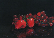Strawberries Paintings - Strawberries and Grapes by Torrie Smiley