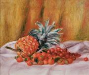 Pineapple Paintings - Strawberries and Pineapple by Pierre Auguste Renoir