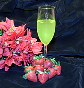 Kitchen Photos Prints - Strawberries and Wine Print by Michael Waters