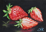 Colored Background Drawings - Strawberries by Christine Karron