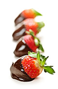 Lineup Prints - Strawberries dipped in chocolate Print by Elena Elisseeva