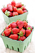 Baskets Framed Prints - Strawberries Framed Print by Elena Elisseeva