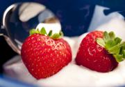 Strawberry Art - STRAWBERRIES IN CREAM close-up food still-life of berries for breakfast or dessert by Andy Smy