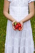 White Dress Prints - Strawberries Print by Joana Kruse