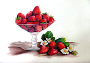 Strawberry Pastels Prints - Strawberries  Print by Karin Best