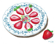 Food And Beverage Drawings Originals - Strawberries by Loraine LeBlanc