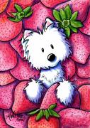 Fun Food Mixed Media Framed Prints - Strawberries N Cream Framed Print by Kim Niles
