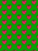 Green Color Art - Strawberries On A Green Background by Lana Sundman