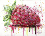 Drips Painting Metal Prints - Strawberry 1 Metal Print by Arleana Holtzmann