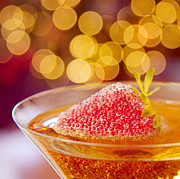 Bubbly Prints - Strawberry and Champagne Print by Kim Fearheiley
