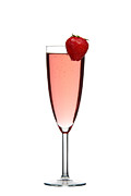 Wine Glass Posters - Strawberry Champagne Poster by Gert Lavsen