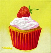 Sweets Painting Acrylic Prints - Strawberry Cupcake Acrylic Print by John  Nolan