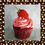 Party Birthday Party Prints - Strawberry Cupcake With Border Print by Jai Johnson