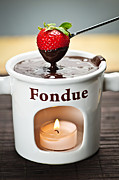 Fondue Posters - Strawberry dipped in chocolate fondue Poster by Elena Elisseeva