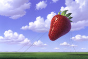Fruits Painting Prints - Strawberry Field Print by Jerry LoFaro