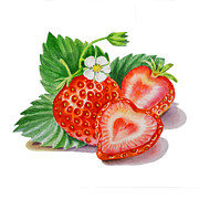 Strawberry Art Metal Prints - Strawberry Heart Metal Print by Irina Sztukowski