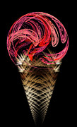 Yummy Digital Art Prints - Strawberry Ice Cream Cone Print by Andee Photography