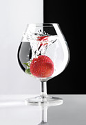 Glass Reflecting Metal Prints - Strawberry in a Glass Metal Print by Oleksiy Maksymenko