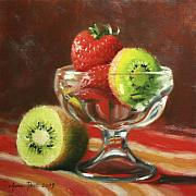Fruit Still Life Framed Prints - Strawberry Kiwi Framed Print by Anna Bain