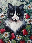 Black Cat Landscape Posters - Strawberry Lover Cat Poster by Natalie Holland