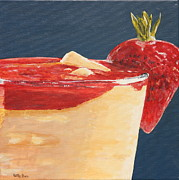 Mango Painting Originals - Strawberry Mango Daiquiri by Betty-Anne McDonald
