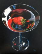 Booze Painting Framed Prints - Strawberry Martini Framed Print by Torrie Smiley