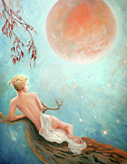Strawberry Art Framed Prints - Strawberry Moon Nymph Framed Print by Michael Rock