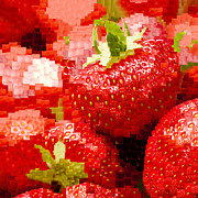 Reds Posters - Strawberry Mosaic Poster by Anne Gilbert